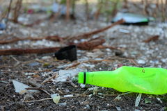 Rubbish plastic bottle in the wood Royalty Free Stock Images