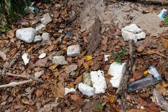 Rubbish plastic pollution. On a tropical beach Royalty Free Stock Photos