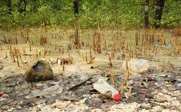 Rubbish and plastic wastes at coast Stock Image