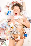 Rubbish poured on woman Stock Photos
