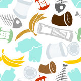Rubbish seamless pattern. Garbage texture. trash ornament. litter background. peel from banana and stub. Tin and old newspaper. B royalty free illustration