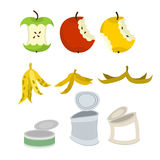 Rubbish set. Garbage collection. Apple core and peel of banana. Royalty Free Stock Photo