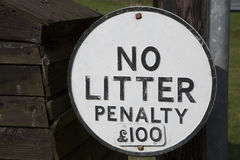 Rubbish Sign. In Urban Setting Stock Photography