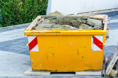 Rubbish Skip, Dumpster construction site Stock Photos