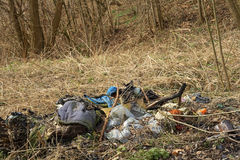 Rubbish throwed out in the forest Stock Photos