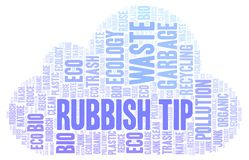 Rubbish Tip word cloud. Wordcloud made with text only vector illustration