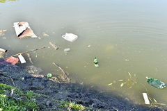 Rubbish, waste floating in polluted pond Royalty Free Stock Photo