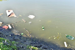 Rubbish, waste floating in polluted pond Royalty Free Stock Photos