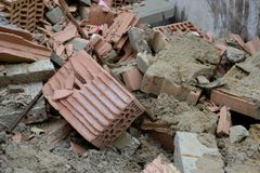 Rubble. Various construction debris in the container Stock Photo