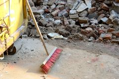 Rubble at construction site. Disposal of debris at a construction site Royalty Free Stock Photo