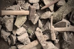 Rubble debris with hammer royalty free stock photos