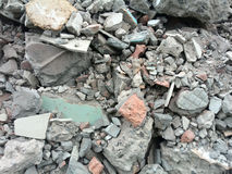 Rubble or debris showing broken cement brick and tiles. Rubble or ruined building material after demolishion Stock Image