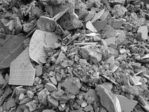 Rubble or debris showing broken cement brick and tiles. Rubble or ruined building material after demolishion Stock Photography