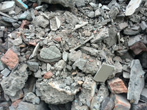 Rubble or debris showing broken cement brick and tiles. Rubble or ruined building material after demolishion Royalty Free Stock Photo