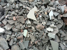 Rubble or debris showing broken cement brick and tiles. Rubble or ruined building material after demolishion Royalty Free Stock Images