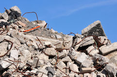 Rubble From a Demolished Building. A large pile of broken concrete from an old building Stock Image