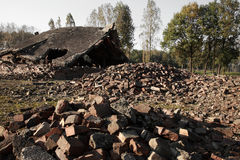 Rubble from the destroyed gas chambers at Auschwitz Royalty Free Stock Photography