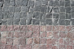 Rubble gray and brown square stones paved road. With a horizontal border Royalty Free Stock Photos