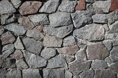 Rubble gray and brown stone wall, rubblework Stock Photos