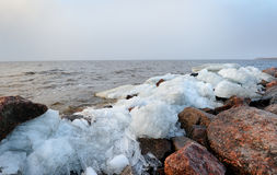 Rubble ice shoreline landscape in Kronstadt Royalty Free Stock Image