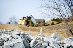 Rubble after natural disaster - landslip Stock Images