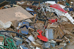 Rubble and object and ruined by the flood throw in the middle of Royalty Free Stock Images