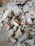 Rubble pile. On construction site stock photo