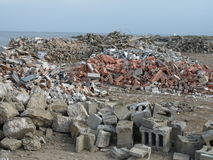 Rubble Piles. Large piles of demolished building rubble royalty free stock photography