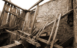 Rubble and the ruins of the house  destroyed by powerful earthqu Stock Image