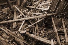 Rubble and the ruins of the house  destroyed by powerful earthqu Royalty Free Stock Photography