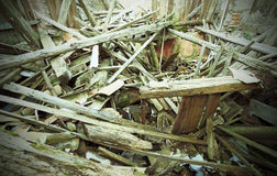 Rubble and the ruins of the house  destroyed by powerful earthqu Stock Photo