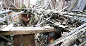 Rubble and the ruins of the house  destroyed by powerful earthqu Royalty Free Stock Images