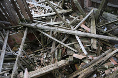 rubble and the ruins of the house  destroyed by powerful earthqu Royalty Free Stock Image