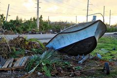 Rubble on the side of a highway in the Florida Keys after being destroyed by Hurricane Irma Royalty Free Stock Images