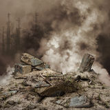 Rubble and smoke Royalty Free Stock Photo