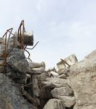 Rubble and twisted metal on a demolition site Royalty Free Stock Photography