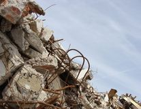 Rubble and twisted metal skyline on a demolition site Stock Photography