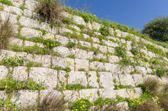 Rubble wall in Chadwick Lakes - Malta Royalty Free Stock Photography