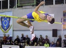 Rubel Andriy auf Hochsprung Stockfoto