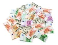 Rubel-, Dollar- und Eurohintergrund Lizenzfreie Stockfotos
