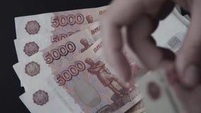 rubel Geld Bill 5000 Zählung des Geldes stock video footage