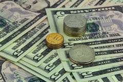 Rubel och dollar Arkivbild
