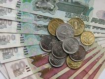 Rubel und Münzen, russisches Geld, Makromodus Stockfotos