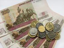 Rubel und Münzen, russisches Geld, Makromodus Stockfotografie