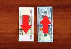 Rubel unten und Dollar wachsen Stockfotografie