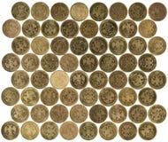 Rubelmünzen auf weißem Hintergrund Lizenzfreies Stockfoto