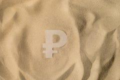 Rubeltecken på sanden fotografering för bildbyråer