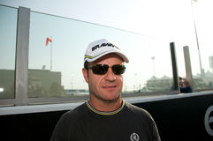 Rubens Barrichello. ABU DHABI, UAE - November 01, 2009: Rubens Barrichello giving autographs at Grand Prix of Abu Dhabi, at Yas Marina Circuit Stock Photo