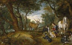 Rubens, Peter Paul_ Brueghel ο παλαιότερος, ο Ιαν. - όραμα Αγίου Hubert διανυσματική απεικόνιση