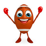 Rubgy ball character with Boxing Gloves Royalty Free Stock Photo